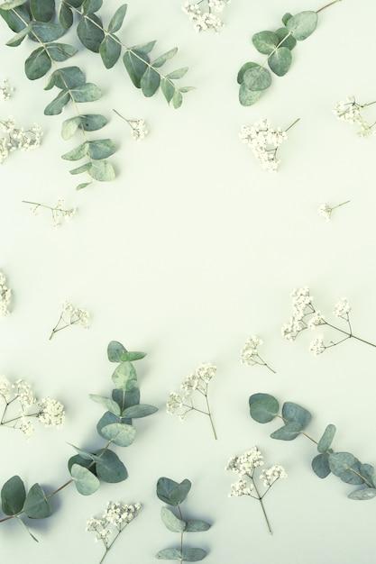 Composition Avec De Belles Fleurs Et Feuilles Photo gratuit