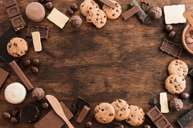 Composition de chocolat avec fond Photo gratuit