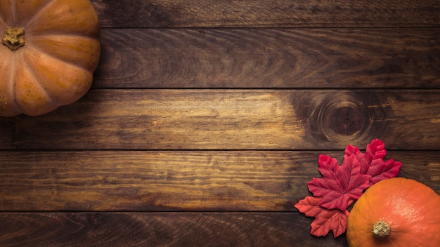 Composition de citrouilles et feuilles colorées Photo gratuit
