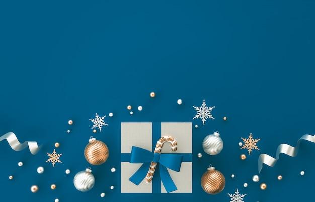 Composition De Décoration 3d De Noël Avec Des Cadeaux, Boule De Noël, Flocon De Neige Sur Fond Bleu. Noël, Hiver, Nouvel An. Mise à Plat, Vue De Dessus, Fond. Photo Premium