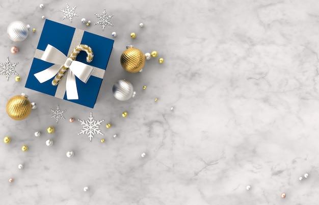 Composition De Décoration 3d De Noël Avec Des Cadeaux, Boule De Noël, Flocon De Neige Sur Fond De Pierre De Marbre Blanc. Noël, Hiver, Nouvel An. Mise à Plat, Vue De Dessus, Fond. Photo Premium