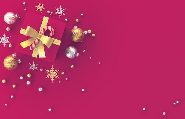 Composition De Décoration 3d De Noël Avec Des Cadeaux, Boule De Noël, Flocon De Neige Sur Fond Rouge. Noël, Hiver, Nouvel An. Mise à Plat, Vue De Dessus, Fond. Photo Premium