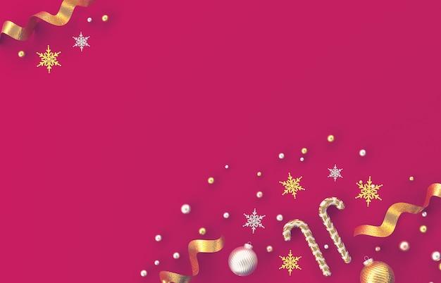 Composition De Décoration 3d De Noël Avec Canne En Bonbon, Boule De Noël, Flocon De Neige Sur Fond Rouge. Noël, Hiver, Nouvel An. Mise à Plat, Vue De Dessus, Fond. Photo Premium