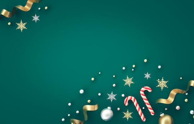 Composition De Décoration 3d De Noël Avec Canne En Bonbon, Boule De Noël, Flocon De Neige Sur Fond Vert. Noël, Hiver, Nouvel An. Mise à Plat, Vue De Dessus, Fond. Photo Premium
