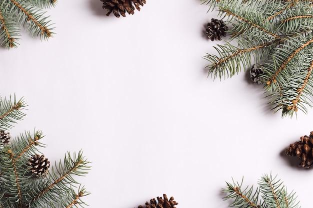 Composition de décoration de noël pommes de pin branches d'épinette Photo gratuit