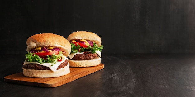 Composition De Deux Hamburgers Photo gratuit