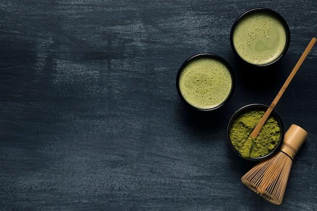 Composition De Deux Tasses Avec Thé Asiatique Photo gratuit
