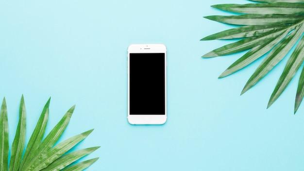 Composition du téléphone portable et des feuilles vertes Photo gratuit