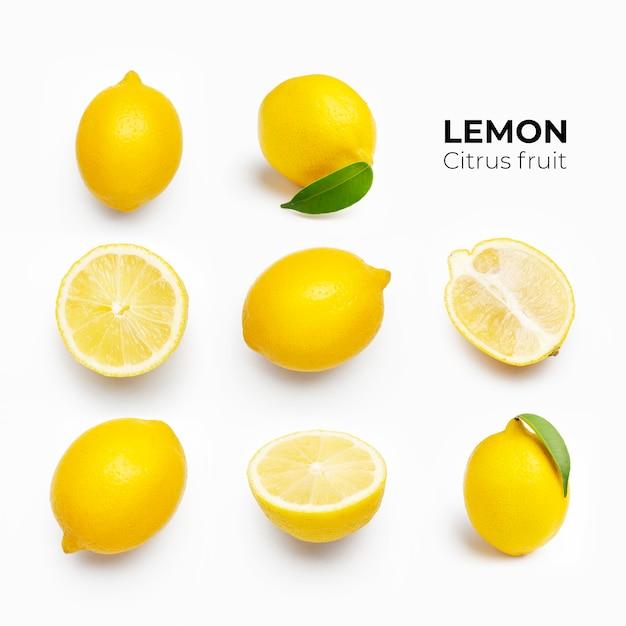 Composition élégante De L'ensemble De Citrons Sur Une Surface Blanche Photo gratuit