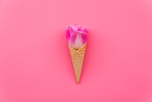 Composition avec fleur en cornet de gaufres sur fond rose Photo gratuit