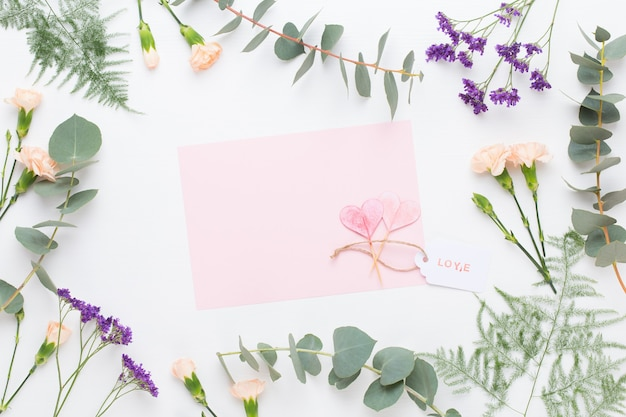Composition De Fleurs. Papier Vierge, Fleurs D'oeillets, Branches D'eucalyptus Sur Fond Pastel. Mise à Plat, Vue De Dessus. Photo Premium