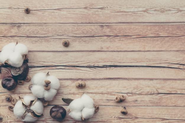 Composition florale frontière d'automne. fleur de coton moelleux blanc et châtaigne sur table en bois. Photo Premium