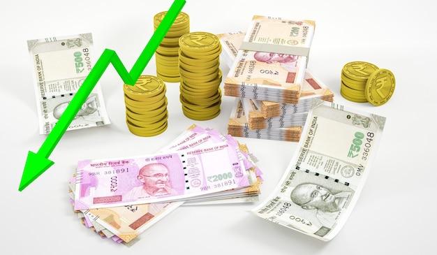 Composition D'investissement Du Symbole De La Roupie Indienne Moderne Photo Premium