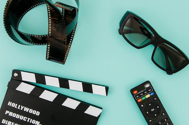 Composition laïque à plat d'éléments de cinéma Photo gratuit