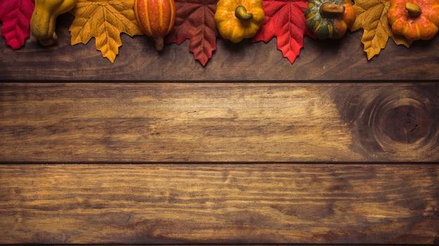 Composition lumineuse de citrouilles et de feuilles d'érable Photo gratuit