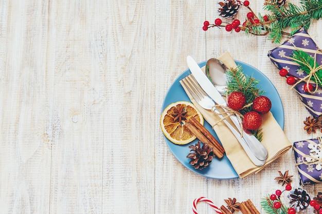 Composition de noël avec table Photo Premium
