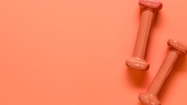 Composition d'une paire d'haltères roses légers Photo gratuit