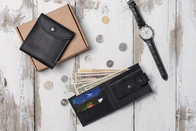 Composition à plat de la montre, accessoires de la peau Photo Premium