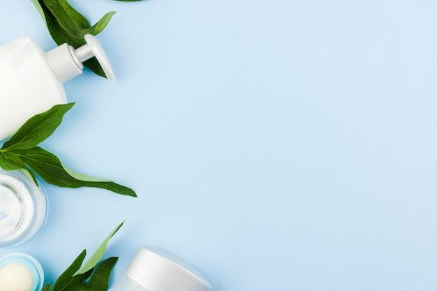 Composition de produits et feuilles de peau blanche Photo gratuit