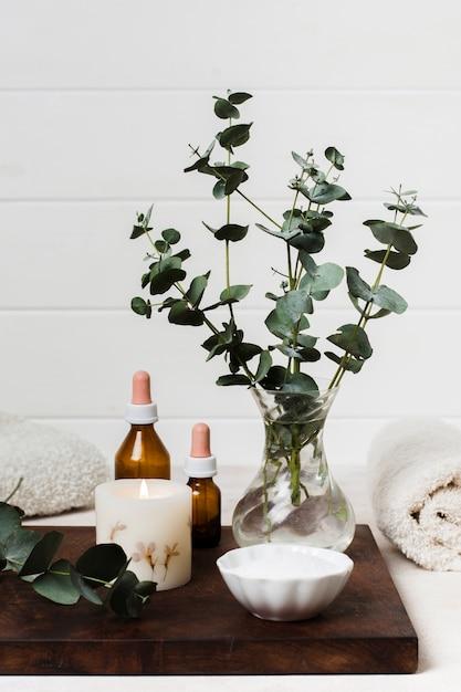 Composition de spa avec bougie allumée et plante Photo gratuit