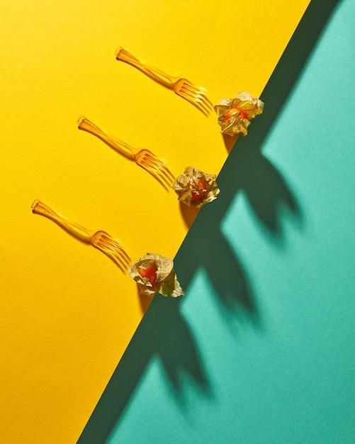Composition De Vue De Dessus Avec Plante Physalis Jaune Et Fourches Sur Fond Vert Jaune Bicolore En Diagonale Avec Des Ombres Douces. Style Moderne. Photo Premium