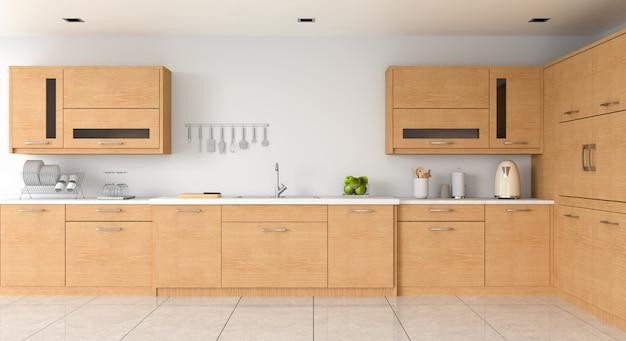 Comptoir de cuisine moderne et évier pour maquette Photo Premium