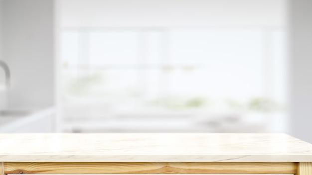Comptoir En Marbre Blanc Avec Cuisine Moderne Photo Premium