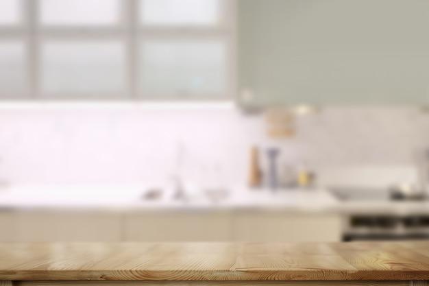 Comptoirs en bois table avec fond de salle de cuisine moderne. Photo Premium
