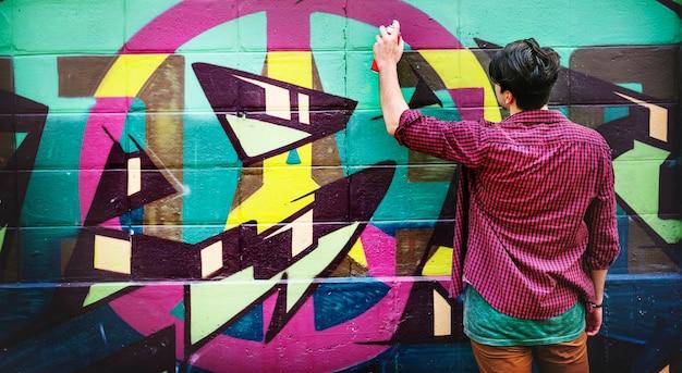 Concept abstrait de pulvérisation d'art de culture de rue de graffiti Photo Premium