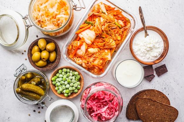 Concept alimentaire probiotiques. Photo Premium