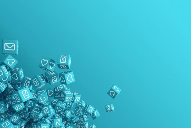 Le concept art sur le thème de l'illustration 3d des réseaux sociaux Photo Premium