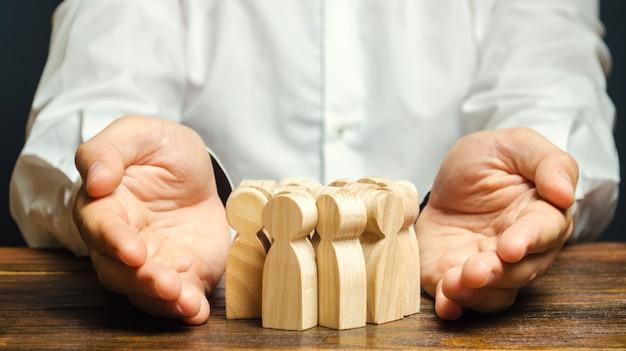 Concept d'assurance d'équipe. gestion des ressources humaines. recrutement d'équipe. Photo Premium