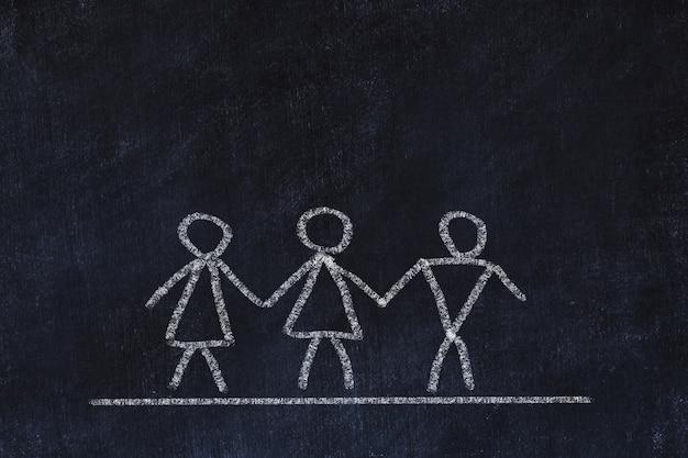 Concept bisexuel ou transgenre. croquis à la craie sur tableau noir Photo Premium