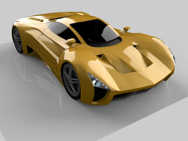 Concept car de course jaune. image d'une voiture sur un fond gris brillant Photo Premium