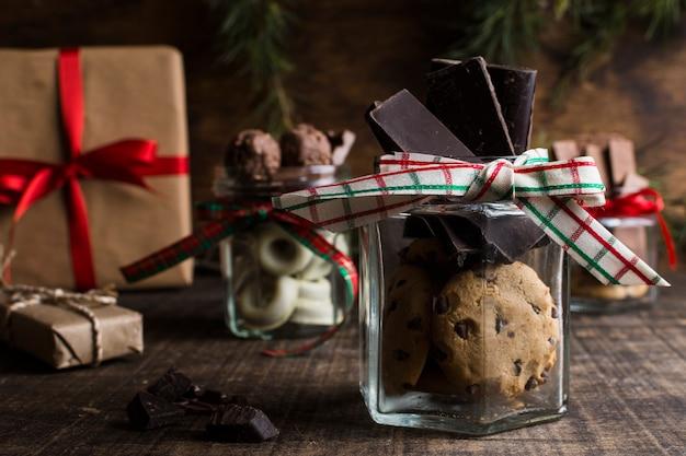 Concept de chocolat et de noël Photo gratuit