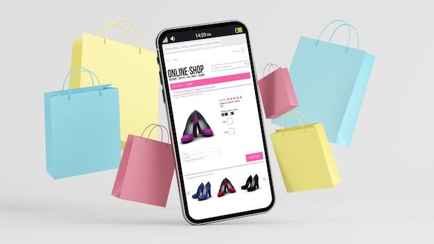 Concept De Commerce électronique: Mobile Et Sacs à Provisions Avec Boutique Sur L'écran De Rendu 3d Photo Premium