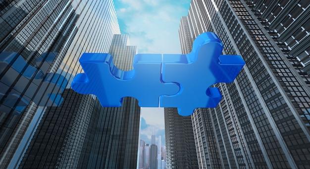 Concept commercial de fusion et acquisition, rejoindre le rendu 3d de la société Photo Premium