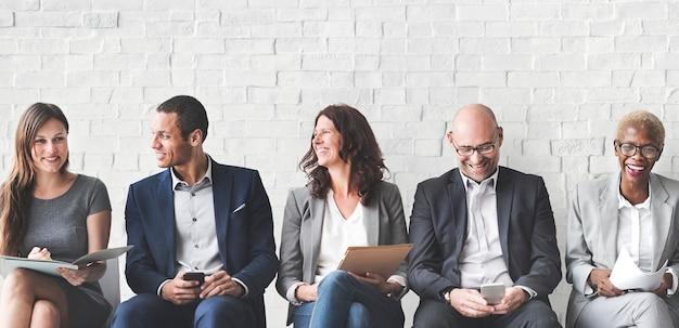 Concept de connexion des gens d'affaires réunion d'entreprise numérique Photo Premium