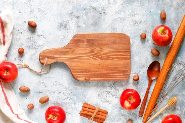Concept de cuisson de la tarte aux pommes automne Photo Premium