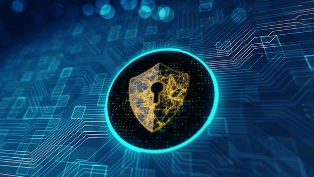 Concept de cybersécurité de protection des données. Photo Premium