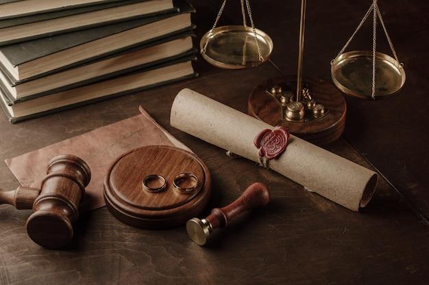 Concept De Divorce. Juge Marteau Et Anneaux D'or En Notaire Photo Premium