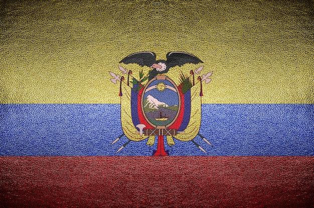 Concept De Drapeau Equateur écran Sur Cuir Pvc Pour Le Fond Photo Premium