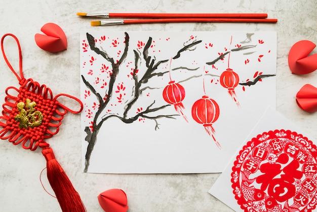 Concept du nouvel an chinois avec du papier Photo gratuit