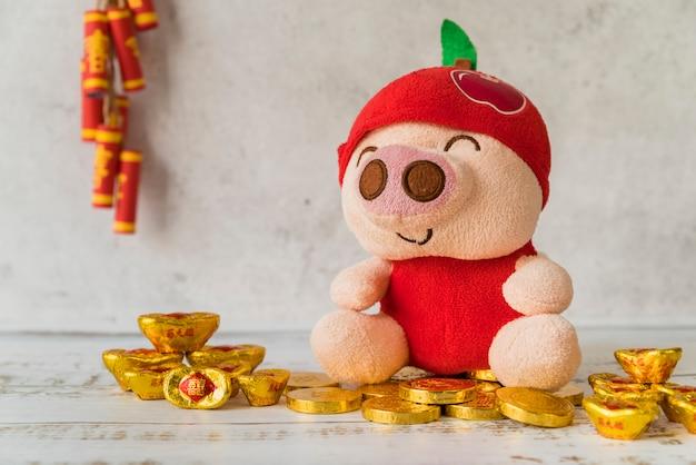 Concept du nouvel an chinois avec de l'or Photo gratuit