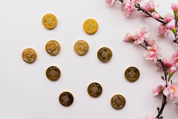 Concept du nouvel an chinois avec des pièces Photo gratuit