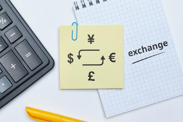 Concept D'échange De Devises Et Calcul Du Résultat Obtenu. Photo Premium