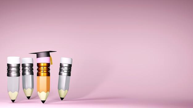 Concept éducatif. Rendu 3d D'un Chapeau De Graduation Et Crayons Sur Mur Rose. Photo Premium
