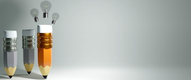 Concept éducatif. Rendu 3d D'un Crayon Et D'une Ampoule Sur Un Mur Blanc. Photo Premium