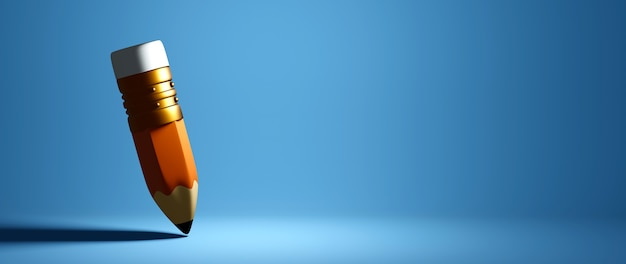 Concept éducatif. Rendu 3d D'un Crayon Sur Un Mur Bleu. Photo Premium