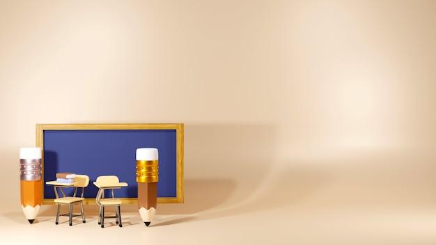 Concept éducatif. Rendu 3d De Crayons Et De Bureaux D'école Dans La Salle De Classe. Photo Premium